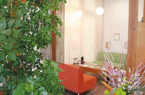 まるでカフェの様な寛ぎ空間<br>居心地良く、緑も沢山♪癒し空間でキレイになれる♪